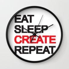 Eat Sleep CREAT Repeat Wall Clock
