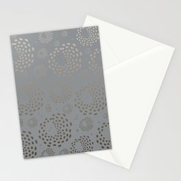 Geometric Round Abstract Hazelnut Circles On Pewter Gray Background Stationery Cards
