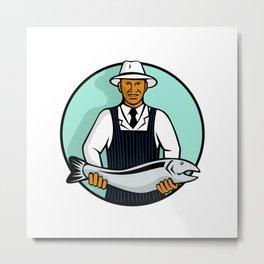 African American Fishmonger Holding Trout Metal Print
