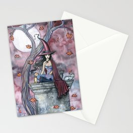 October Winds Fantasy Witch and Cats Halloween Art Stationery Cards