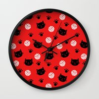 haikyuu Wall Clocks featuring Volley Cats! by paraply