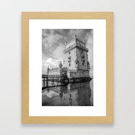 Belem Tower Black white photo Framed Art Print