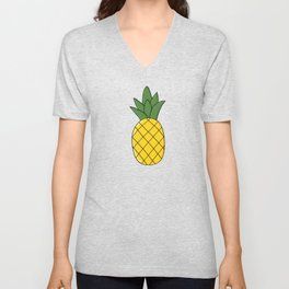Summer print with juicy yellow pineapple Unisex V-Neck