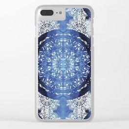 Boho Brocade Blue Mandalas Clear iPhone Case
