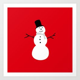 Christmas Snowman-Red Art Print