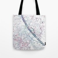 vienna Tote Bags featuring Vienna map by MapMapMaps.Watercolors