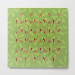 Flowerline – green Metal Print