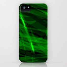 Saturated green and smooth sparkling lines of grass tapes on the theme of space and abstraction. iPhone Case