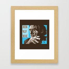 Charles BUKowski - POP-ART - sepia blue Framed Art Print