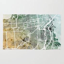San Francisco City Street Map Rug