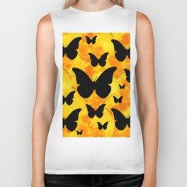 Harvest Gold Moons Black Butterfly Art Biker Tank
