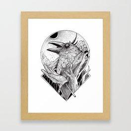 Crow b/w Framed Art Print
