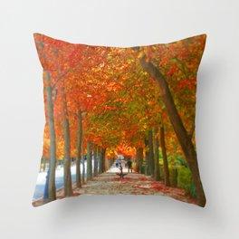 Fall in El Retiro Madrid Throw Pillow