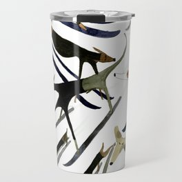 Beatnik Dogs Skiing Travel Mug