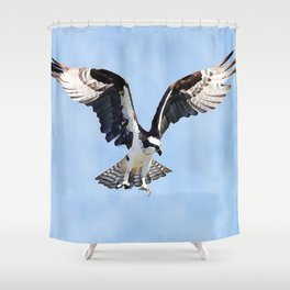 Black And White Hawk Eagle | Watercolor Shower Curtain