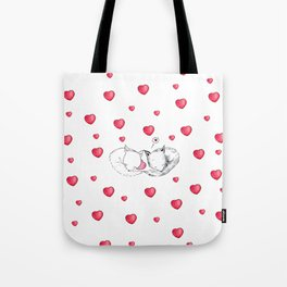 Cute Foxes in Love with Hearts Tote Bag