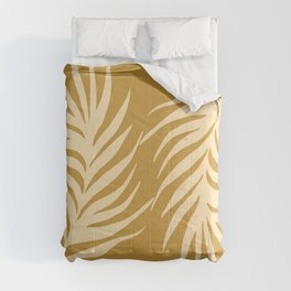 Mustard Monstera Leaves  Comforters
