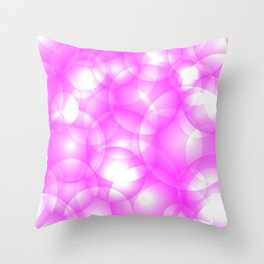 Gentle intersecting pink translucent circles in pastel colors with a crimson glow. Throw Pillow