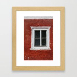 Red and White Window Framed Art Print