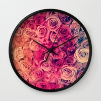 roses Wall Clocks featuring Roses by Msimioni