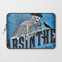 Vintage 1871 Absinthe Blue Liquor Skeleton Elixir Aperitif Cocktail Alcohol Advertisement Poster Laptop Sleeve