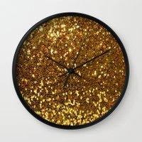gold glitter Wall Clocks featuring GOLD GLITTER by I Love Decor