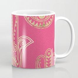 Neon pink faux gold inspirational Hamsa hand of Fatima Coffee Mug