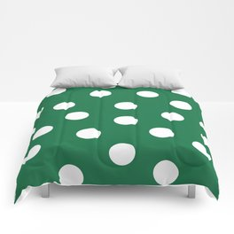 Polka Dots - Dark Spring Green and White Comforters