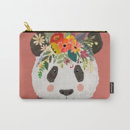 Cut Panda Bear with flower crown. Cute decor for kids Carry-All Pouch