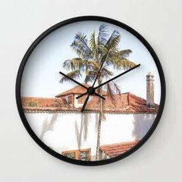 Tropical Palmtree View Canary Islands Art Print | Tenerife Spain Photo | Travel Photography Wall Clock