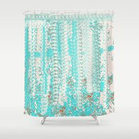 knitting Shower Curtains featuring Feminine Knitting by Jessielee