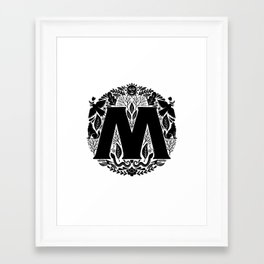 Letter M monogram wildwood Framed Art Print