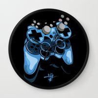 gamer Wall Clocks featuring Gamer by Hey Yet