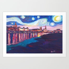 Starry Night in Dresden - Van Gogh Inspirations on River Elbe Art Print