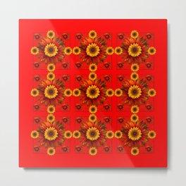 RED & YELLOW SUNFLOWER PATTERN Metal Print