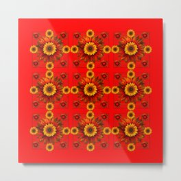 RED & YELLOW SUNFLOWER PATTERN Metal Print