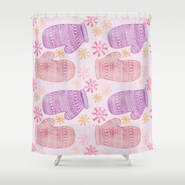 Wintertime pattern knitted mittens Shower Curtain