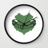 slytherin Wall Clocks featuring Slytherin by konchoo