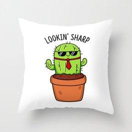 Lookin Sharp Cute Cactus Pun Throw Pillow