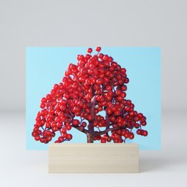 Rowan Berry Branch Top is Red on  Blue Nature Mini Art Print
