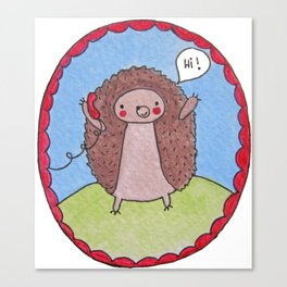 Hedgehog's Phone Canvas Print