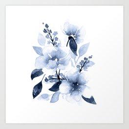 Navy Watercolor Flowers Art Print