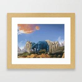Alien buffalos Framed Art Print