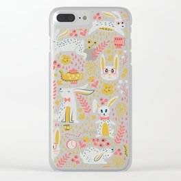 Bunnies + Teapots - Bue + Coral Clear iPhone Case