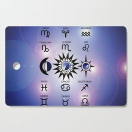 Zodiac Signs with The Moon The Sun and a Star Cutting Board