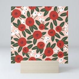 Red graphic bloom Mini Art Print