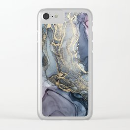 Blush, Payne's Gray and Gold Metallic Abstract Clear iPhone Case