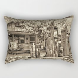Vintage • Gas Station • Sepia • Infrared Rectangular Pillow