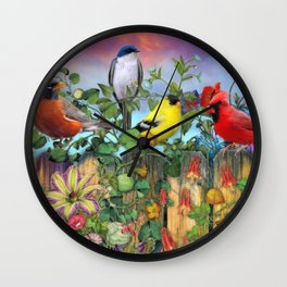 Birds and Blooms Wall Clock