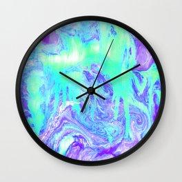 Melting Marble in Mint & Purple Wall Clock